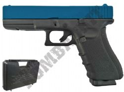 G197 BB Gun Glock Replica CO2 Blowback Airsoft Pistol 2 Tone Black & Blue Metal Slide